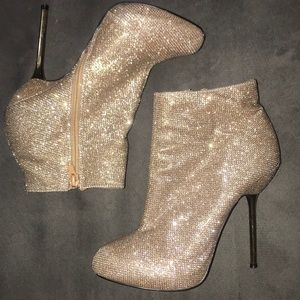 Gold tan shimmery stiletto heel ankle boots glam